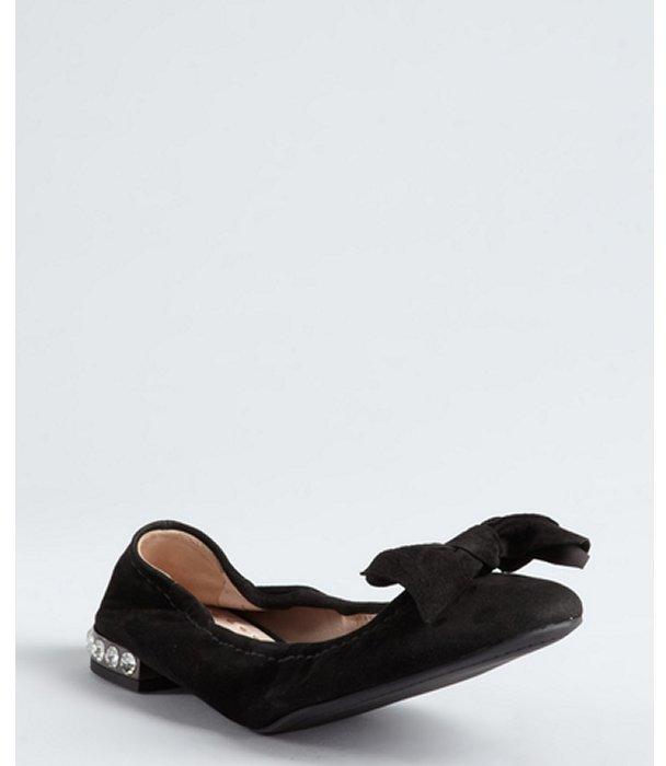 Miu Miu Miu black suede jeweled heel bow flats