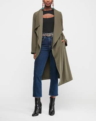 Express Flyaway Tie Front Satin Trench Coat