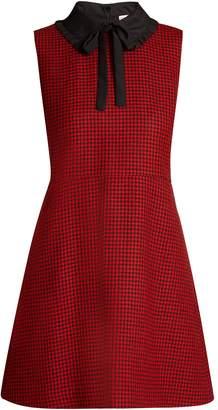 RED Valentino Tie-neck hound's-tooth wool dress