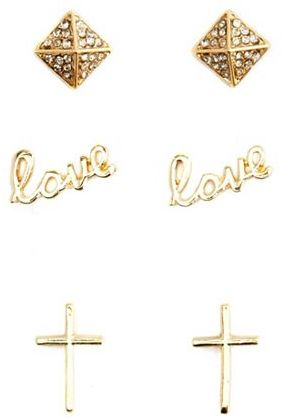 """Charlotte Russe Scripted """"Love"""" Earring Trio"""