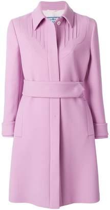 Prada belted single breasted coat