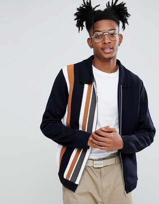 Asos DESIGN Knitted Jacket In Milano Stitch With Vertical Stripe