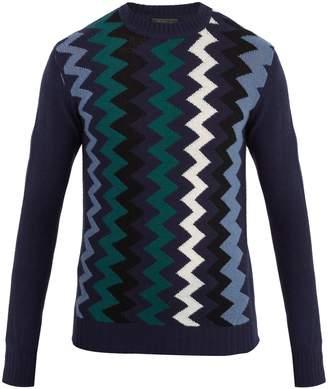 Prada Zigzag-intarsia wool and cashmere-blend sweater