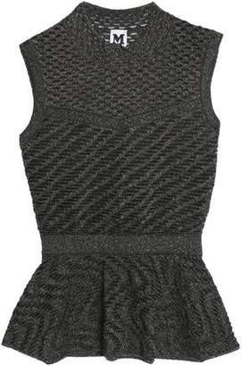M Missoni Metallic Stretch-Knit Peplum Top