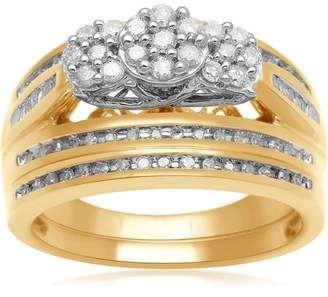 Generic 1/2 Carat T.W. Three-Stone Baguette and Round Diamond Composite Head 18Kt Yellow Gold Over Silver Bridal Set, Size 7 only