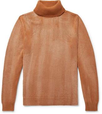 Massimo Alba Milton Melange Cashmere Rollneck Sweater - Camel
