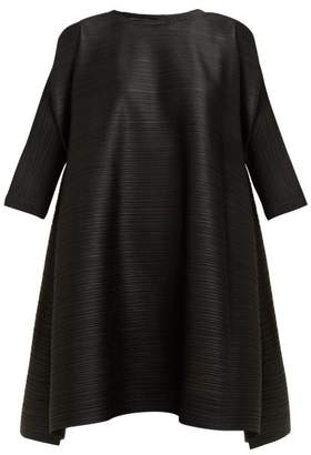 Pleats Please Issey Miyake Puff Shoulder Side Slit Pleated Dress - Womens - Black