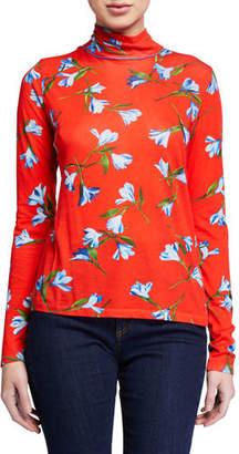 Rag & Bone Floral-Print Jersey Turtleneck
