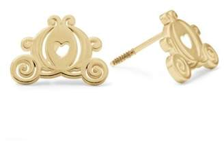 Disney Princess 10kt Yellow Gold Carriage Stud Earrings