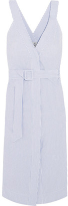 SEA - Striped Cotton Midi Dress - Sky blue $425 thestylecure.com