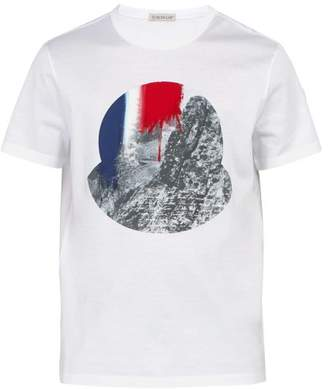 Moncler Photographic Print Cotton T Shirt - Mens - White