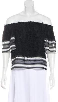 Jonathan Simkhai Off-The-Shoulder Frayed Top