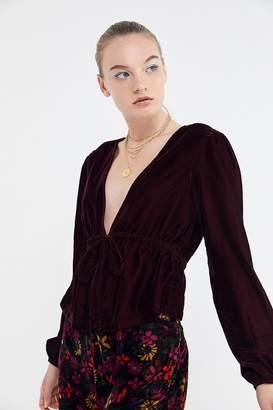 Urban Outfitters Drew Velvet Tie-Waist Blouse