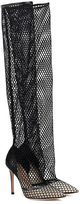 Gianvito Rossi Celia fishnet over-the-knee boots