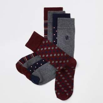 River Island Dark red print smart socks multipack