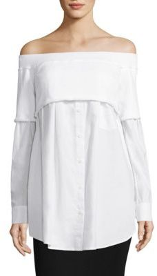 DKNY Off-the-Shoulder Shirt $248 thestylecure.com