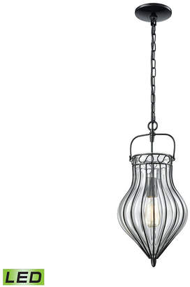 clear Elk Lighting Adriano 1 Light Pendant in Gloss Black with Blown Glass