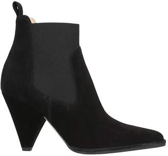 Sergio Rossi Black Suede Leather Ankle Boots