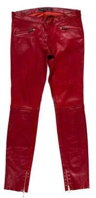 Barbara Bui Leather Mid-Rise Pants