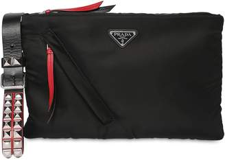 Prada Medium New Vela Nylon Pouch W/ Studs