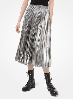 MICHAEL Michael Kors Foil Pleated Midi Skirt