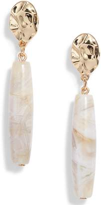 Halogen Barrel Semiprecious Stone Drop Earrings