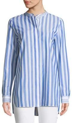 Lafayette 148 New York Brayden Captiva Striped Cotton Blouse