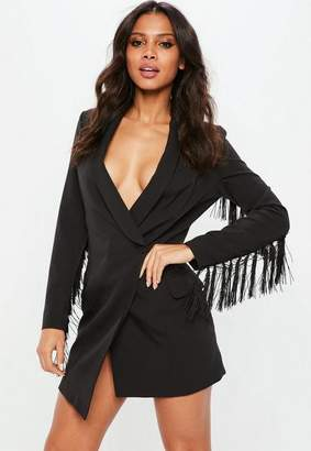 Missguided Black Tassel Sleeve Tux Blazer Dress