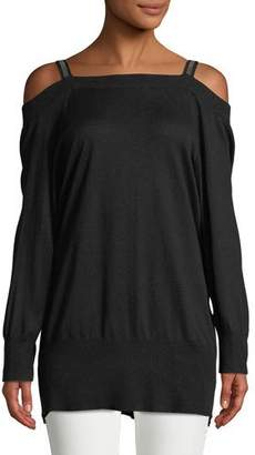 Halston Long-Sleeve Embellished-Strap Silk-Cashmere Tunic Sweater