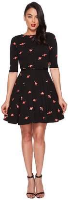 Unique Vintage Heartbreaker Print Knit Flare Dress Women's Dress