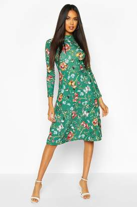 boohoo Floral Crew Neck Midi Dress