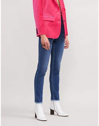 Maje Frayed-hem skinny stretch-denim jeans