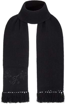 Fendi cashmere embroidered fringed scarf