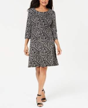 Karen Scott Plus Size 3/4-Sleeve Floral-Print Dress, Created for Macy's