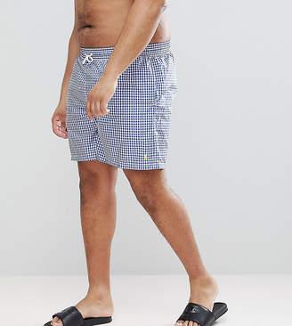 Polo Ralph Lauren Big & Tall Traveller Gingham Check Swim Shorts Player Logo In Blue