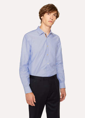 Paul Smith Men's Tailored-Fit Sky Blue Cotton 'Artist Stripe' Cuff Oxford Shirt