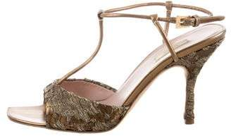 Prada Lace-Accented T-Strap Sandals