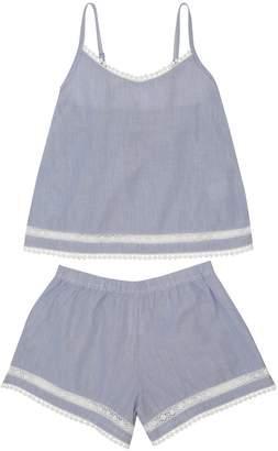 M&Co Teens' stripe pom pom trim pyjamas