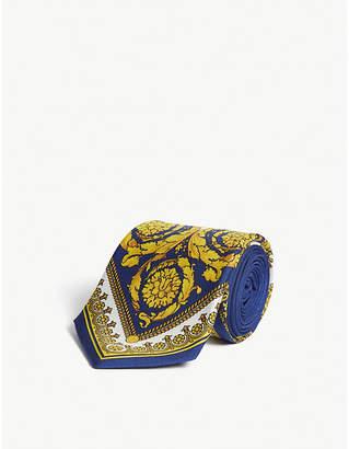 Versace Baroque print silk tie