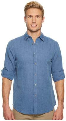 Perry Ellis Rolled-Sleeve Solid Linen Cotton Shirt Men's Long Sleeve Button Up