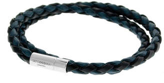 Tateossian Men's Braided Leather Double-Wrap Bracelet - L, Blue/Black