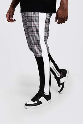 boohoo Big & Tall Tricot Tartan Skinny Fit Joggers