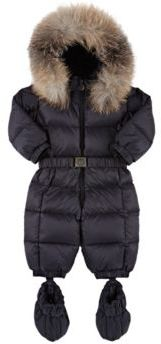 Moncler Fur-Trimmed Down-Quilted Snowsuit-NAVY $585 thestylecure.com