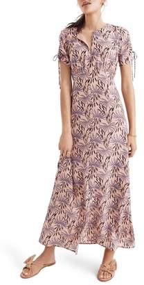 Madewell Oasis Palms Tie Sleeve Silk Maxi Dress