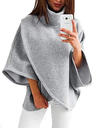 ZKHOECR Turtleneck Sweater Women Plus Size Womans Cowl Neck 3/4 Sleeve Designer Dressy Chic Stylish Pleated Soft Baggy Tee Shirts Flowy Boutique Thick Trapeze Blouses for Legging Gray XXL