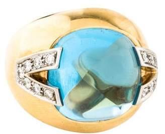 Versace 18K Topaz & Diamond Cocktail Ring