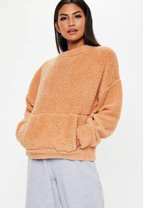 Missguided Camel Teddy Pocket Front Sweatshirt
