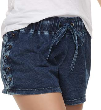 Vanilla Star Juniors' Tie Waist Lace-Up Shortie Shorts