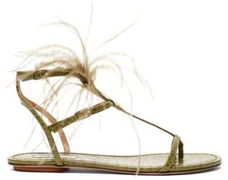 Aquazzura Ponza Feather Embellished Leather Sandals - Womens - Khaki