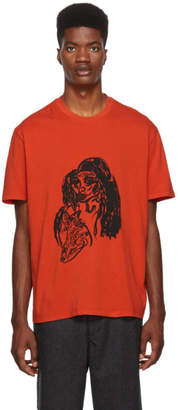 Our Legacy Orange Woman Print T-Shirt